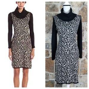 Calvin Klein XL Leopard Print Sweater Dress